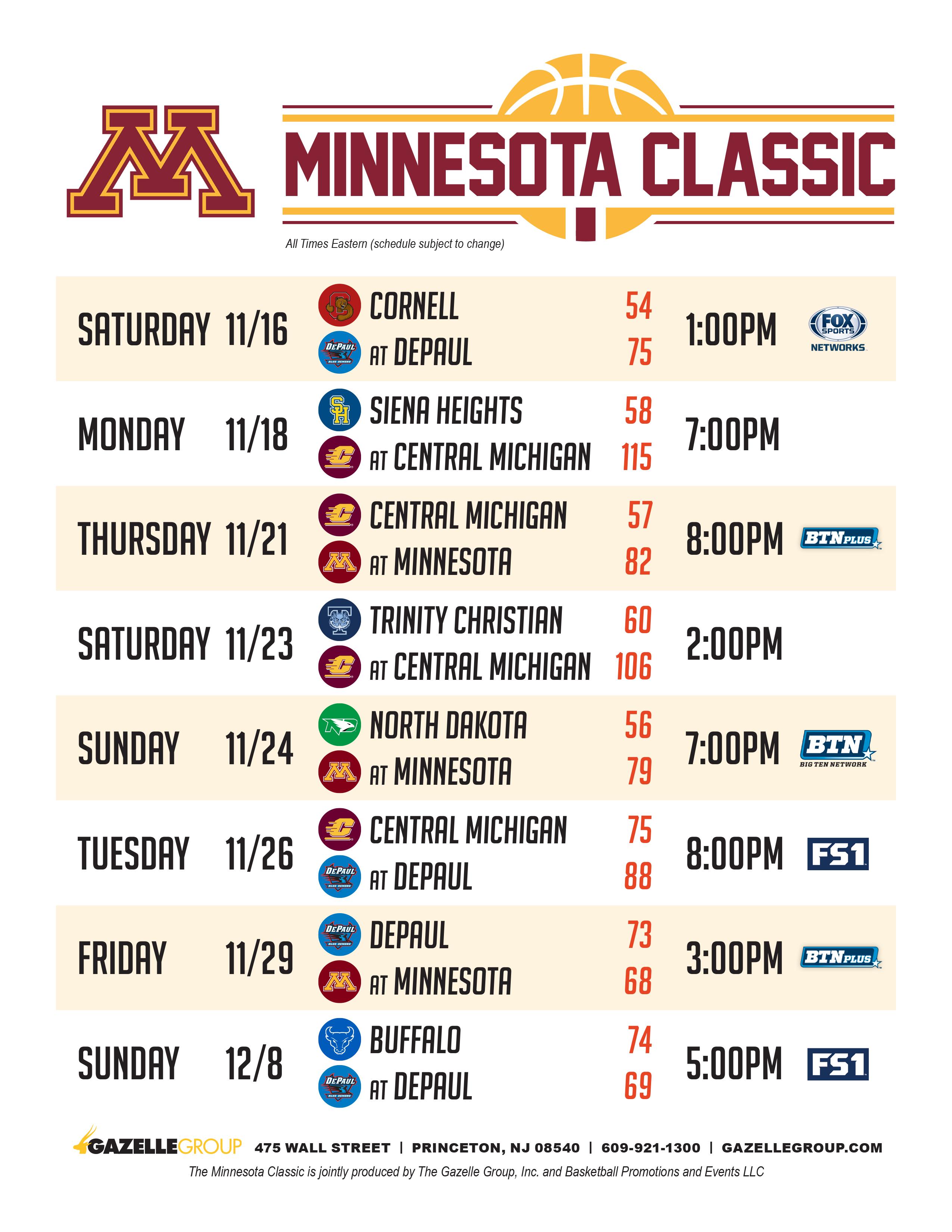 Minnesota Classic Schedule