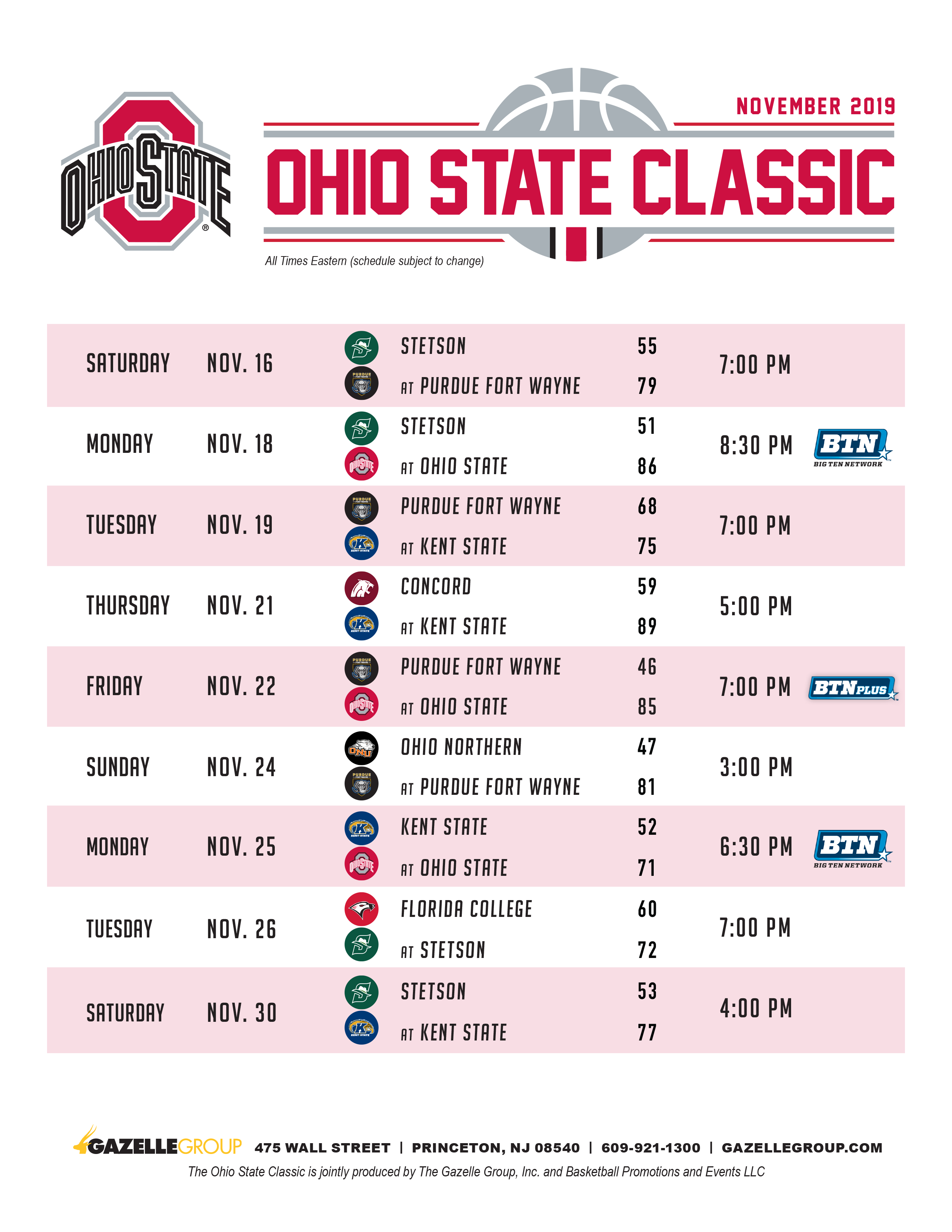 Ohio State Classic Schedule