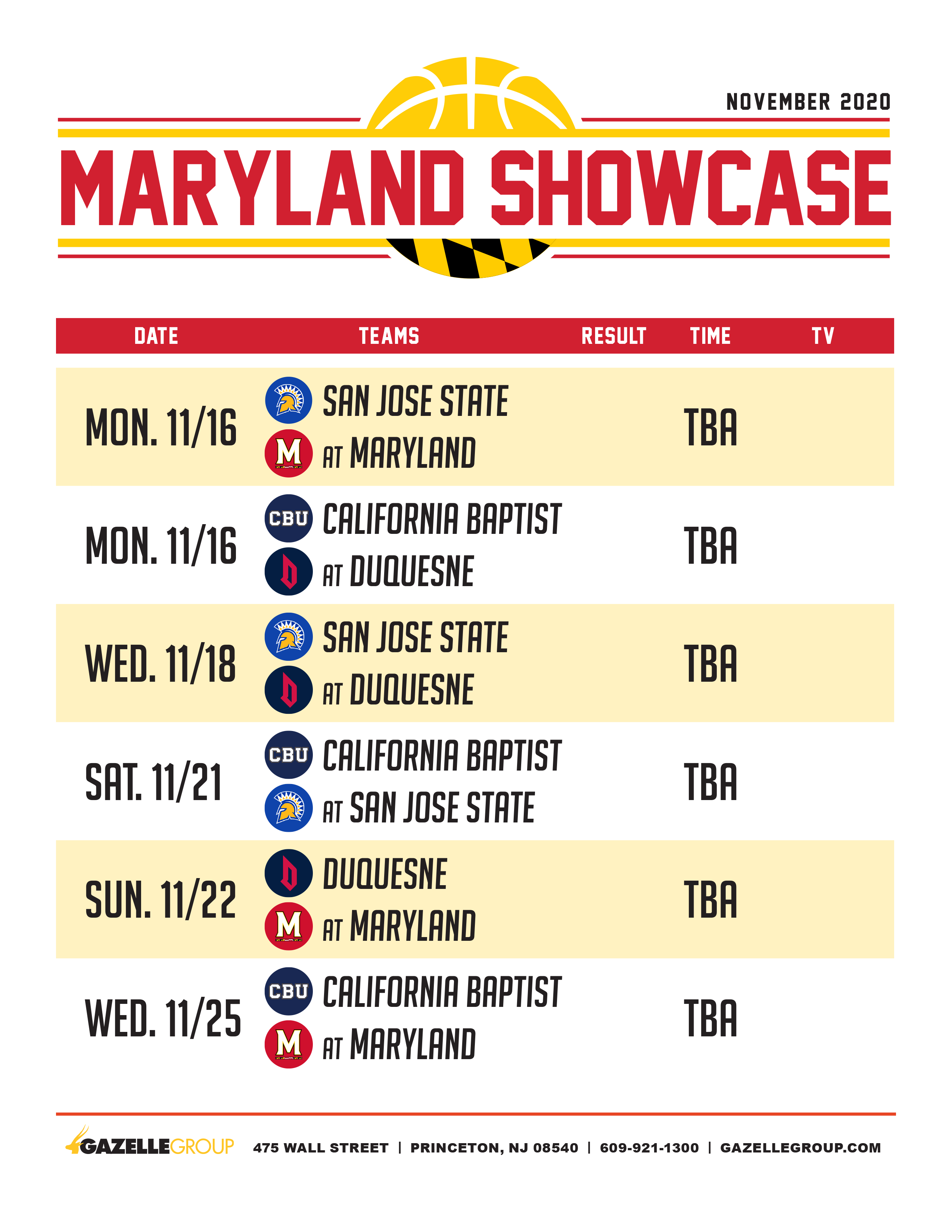 Maryland Showcase Schedule