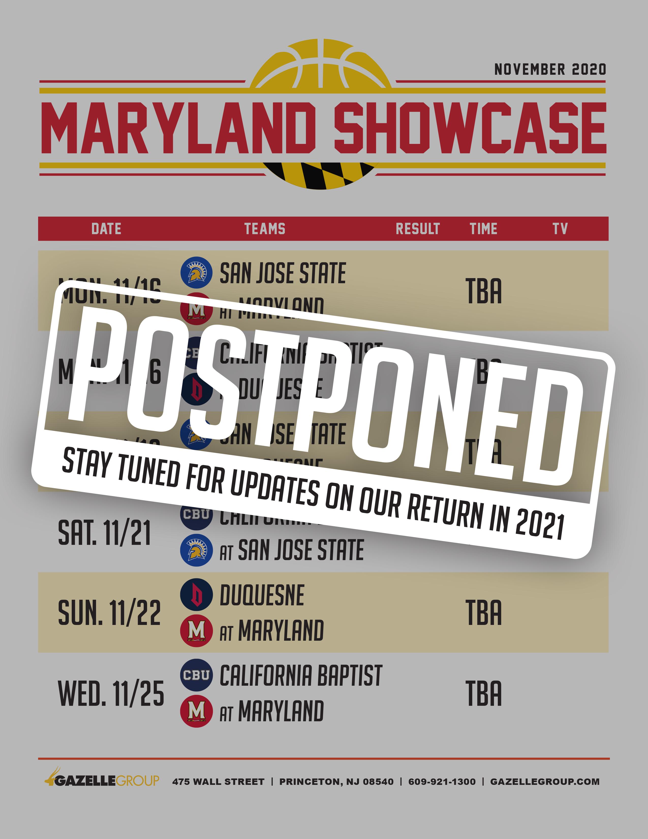 Maryland Showcase Schedule